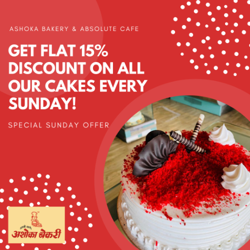 Now get Flat 15% Discount every Sunday on our Cakes!